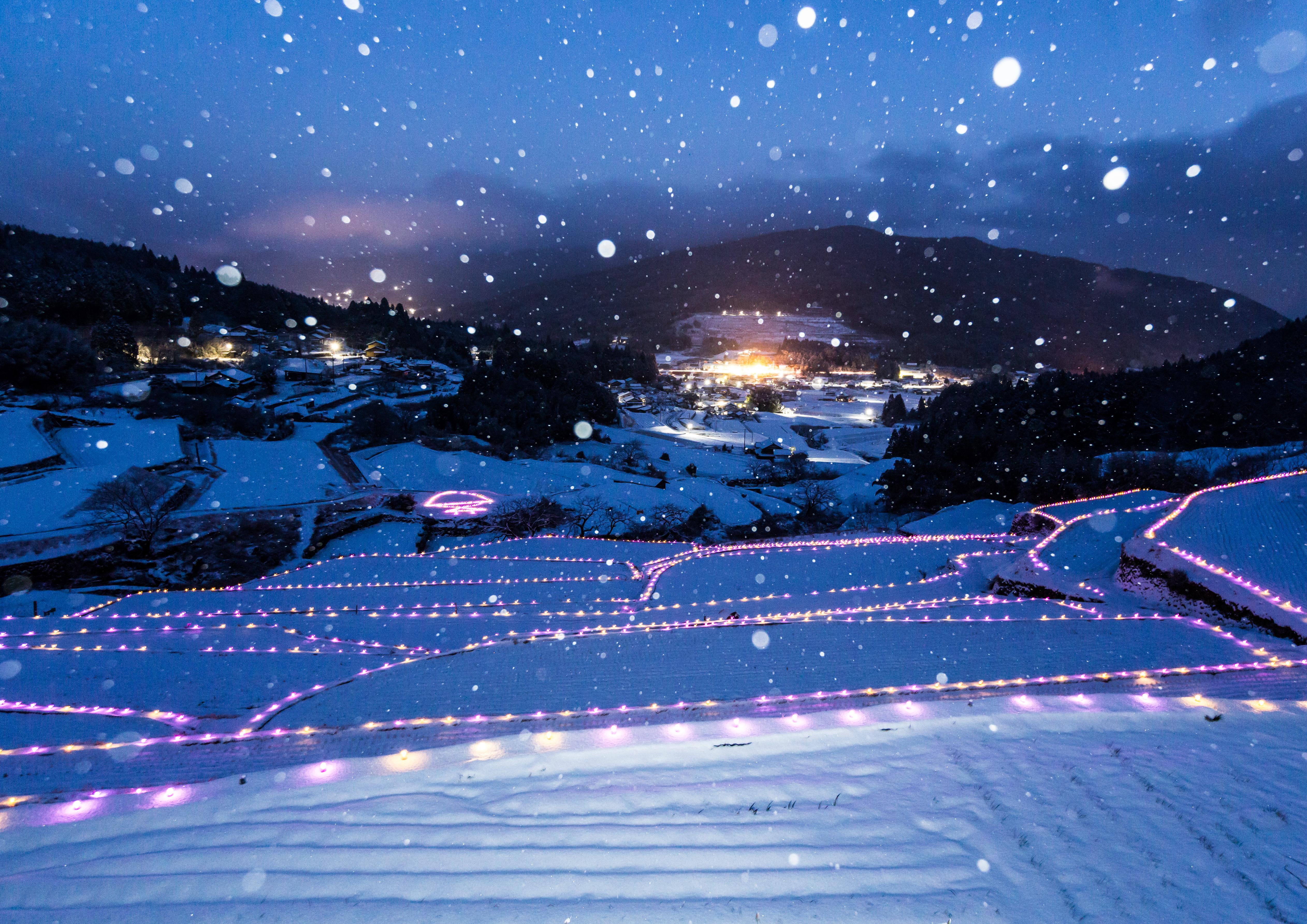 ライトアップされた雪景色